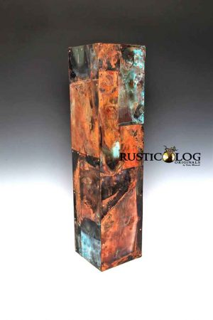 Art copper vase with a custom patina