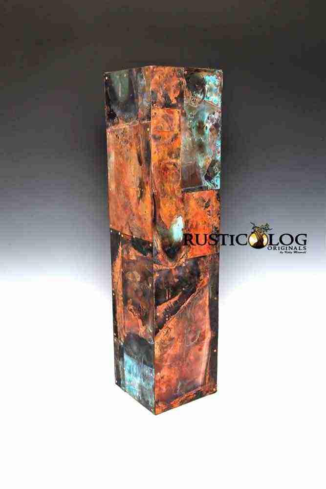 Art copper vase with a custom patina