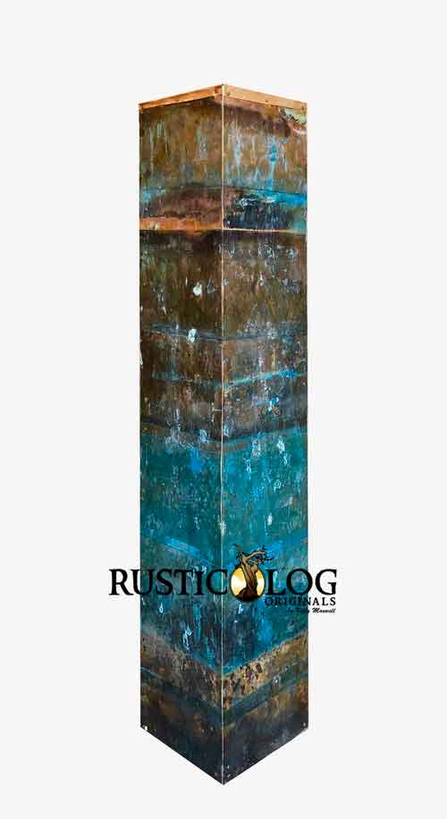 Tall copper vase with artistic teal patina